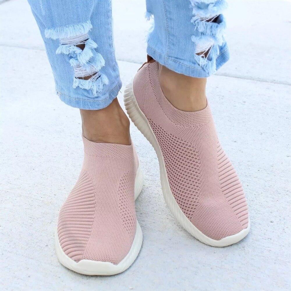 Zapatos de las mujeres Plus tamaño 43 mujeres vulcanizar zapatos de moda Zapatos de deslizamiento en calcetín zapatos de mujer zapatos de malla de aire zapatillas de deporte casuales planos de Tenis feminino