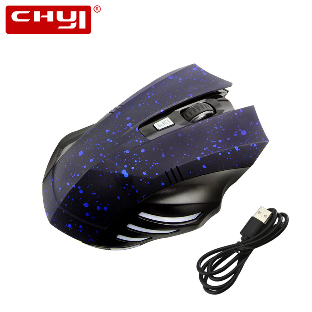CHYI Wireless Silent Gaming Mouse Bluetooth Noiseless Mouse with 6 Buttons 3 Adjustable DPI for MacBook 2017 Laptop Computer image