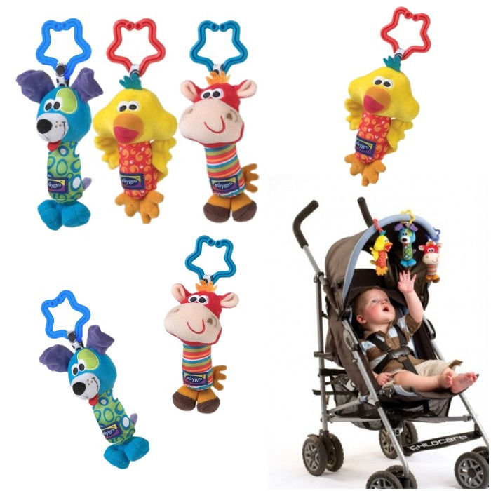 Kids Baby Lovely Soft Animal Handbell Rattles Handle Stroller Development Toy Baby Rattles Bed Bell Stroller Toys