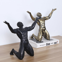 Resin Roar of Victory Man Statues Ornaments Creative Vintage Man Sculpture Crafts Home Office Living Room Decoration Gift