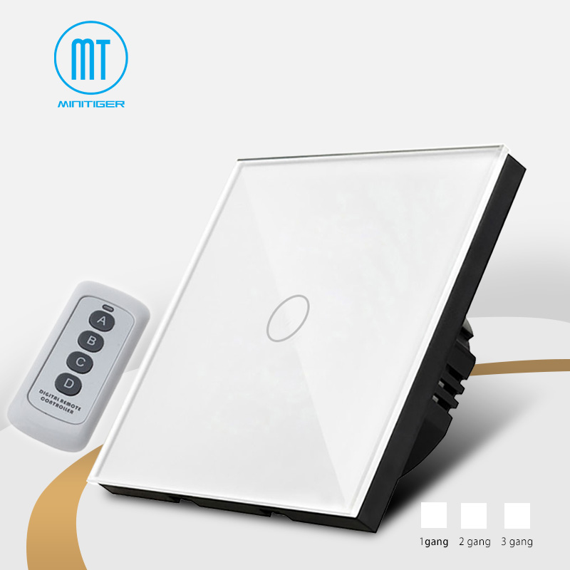 EU Standard Wall Light Touch Screen Switch, White Crystal Glass Panel, 170~250V+ LED Indicator, Remote control Wall touch switch