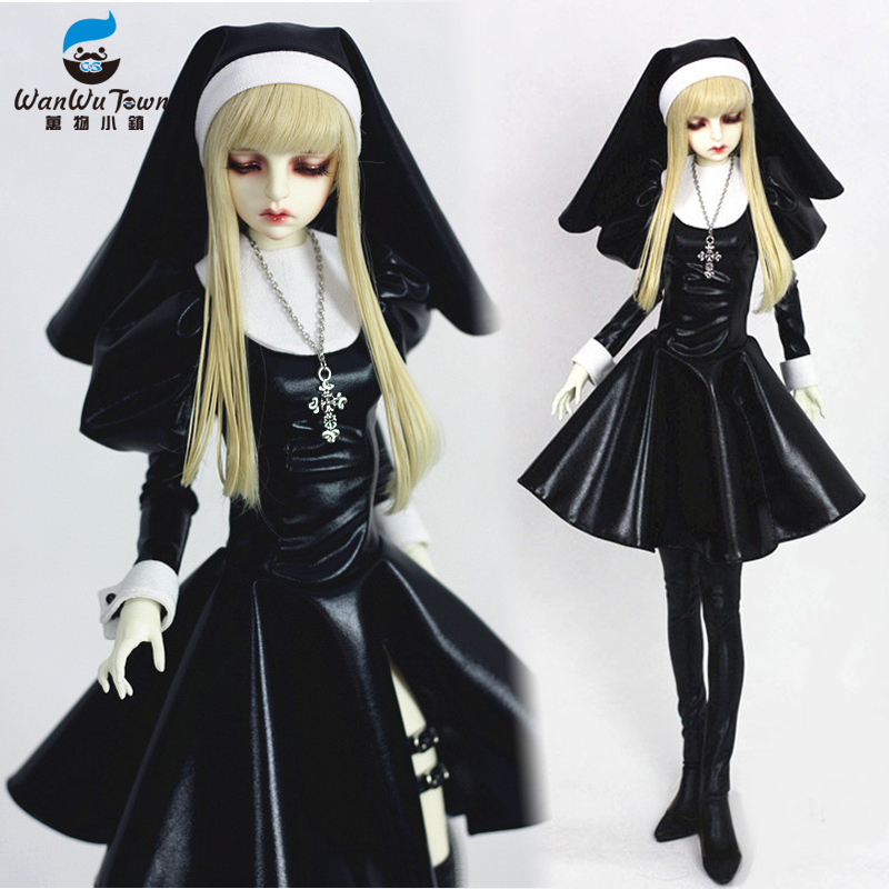 Accept Custom Suit Killer Nun Black Nuns'dress Full Dress Long Skirt 1/3 1/4 BJD IP DD SD MSD Doll Clothes