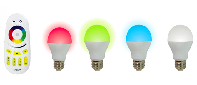 ФОТО 4 pieces of 2.4Ghz RF LED 6W RGBW Bulb + 1 piece 2.4Ghz RGBW 4-zone led touch remote(Mi-Light)