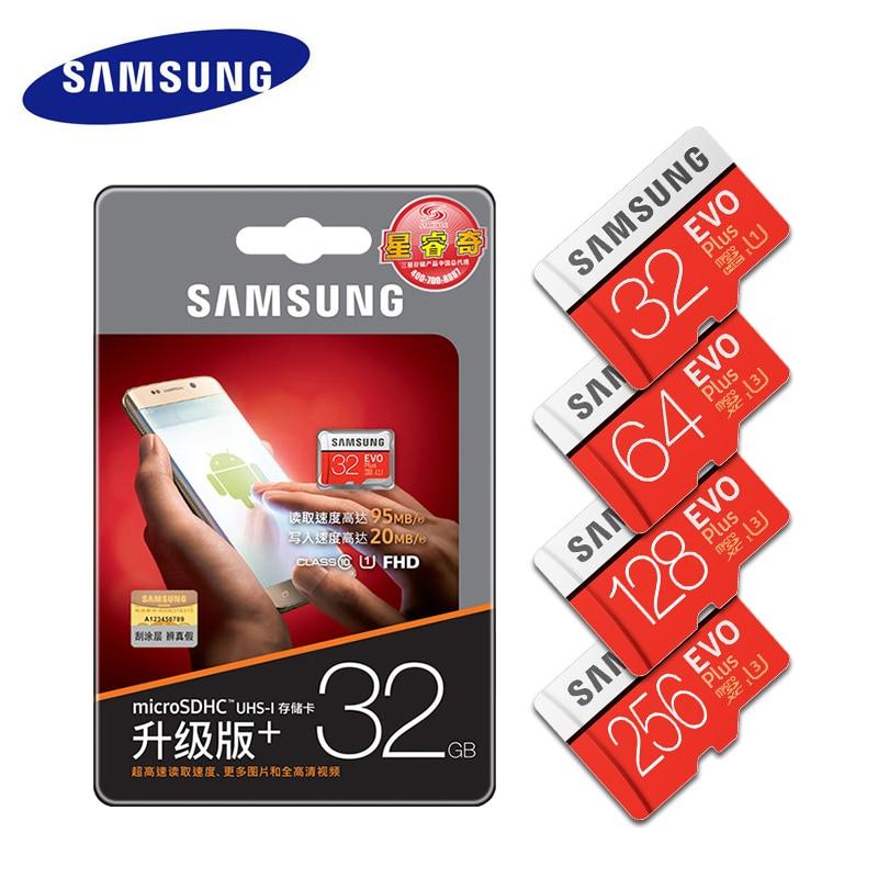 New product Original SAMSUNG EVO+ Memory Cards 64GB EVO plus U3 128GB 256GB Class10 Micro SD Card 32GB 16G microSD UHS-I TF Card samsung micro sd memory card 32gb microsd 128gb class 10 microsdhc sdxc uhs i transflash u3 100% real brand evo plus new arrive