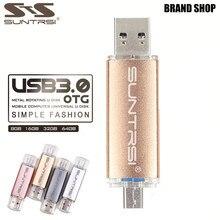 Suntrsi Металл USB Flash Drive настроены логотип USB 3.0 OTG накопитель 64 ГБ 16 ГБ 32 ГБ интерфейсом USB 8 ГБ флешки для PC/телефона Android