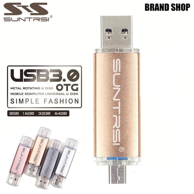Suntrsi Metal USB Flash Drive Customized logo USB 3.0 OTG Pen drive 64gb 16gb 32gb USB Stick 8gb Pendrive For PC/Android Phone