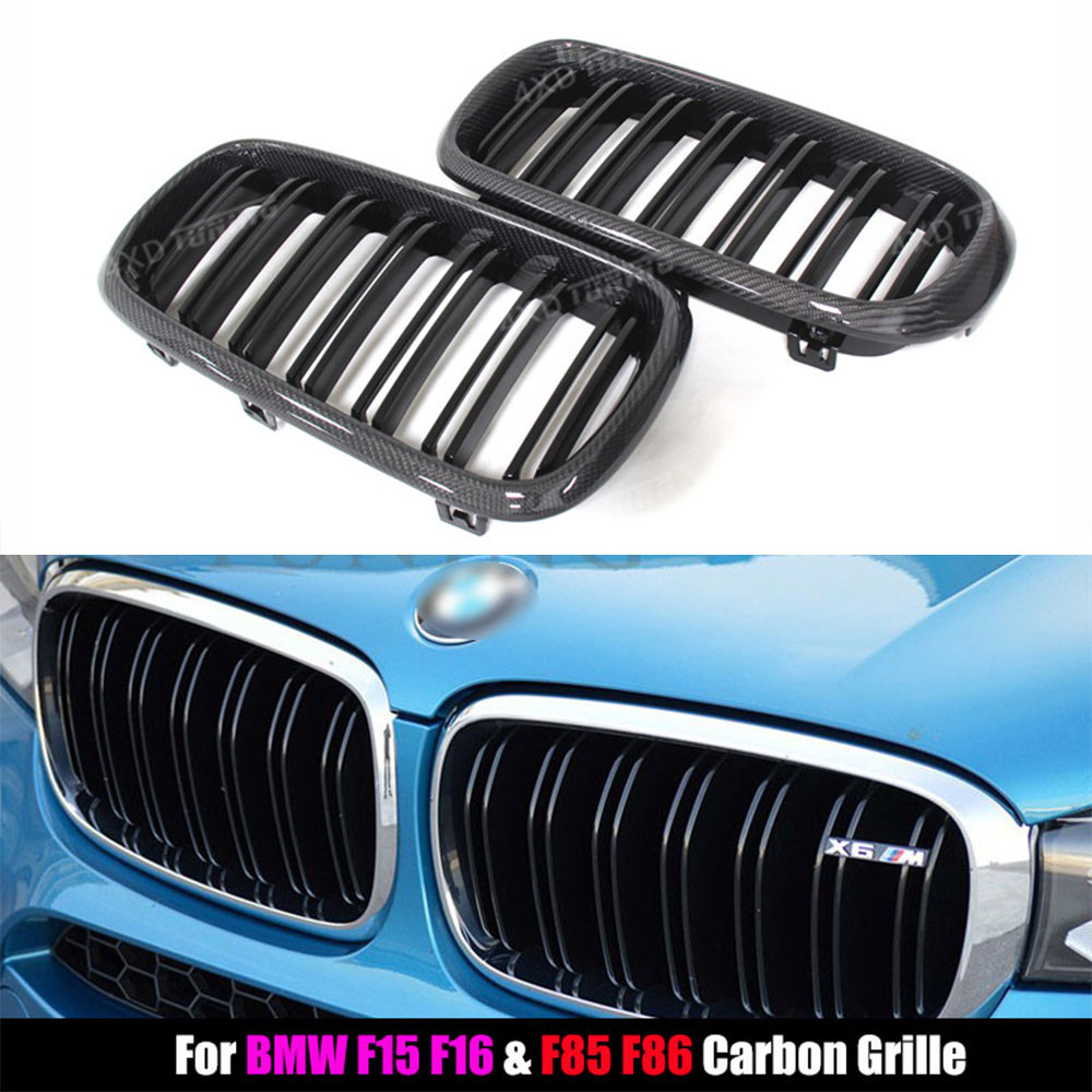 For BMW F15 F16 Carbon Grille X Series X5 F15 X6 F16 Carbon Fiber Front Grille Dual Slats Gloss Black Finish 2014 2015 2016 - UP carbon fiber mirror rearview cover 2pcs for bmw x6 f16 2015