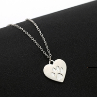 LNRRABC Collier Femme Creative Heart Paw Claw Print Gold Silver Chain Pendant Necklace Fashion Jewelry For Women Gift