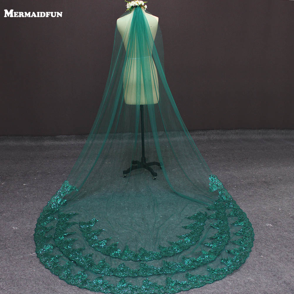 Real Images One Layer Bling Lace At Bottom Gree Bridal Veils With Comb Beautiful Colorful Wedding Veil