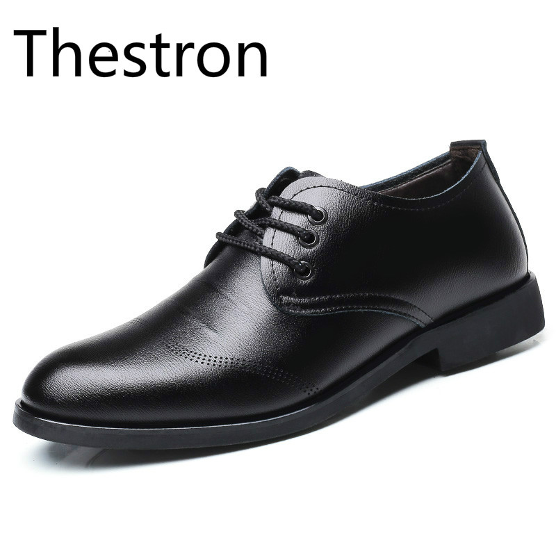 Thestron Men Formal Dress Shoes Mens Social Shoes Male Luxury Brand Brown Black Derby 2018 New Lace Up Casual Office Walking
