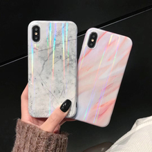 Luxury Bling Gradient Rainbow Laser Aurora Marble Phone Case For iPhone X XS Max XR Soft TPU Cover 7 8 6 6s Plus