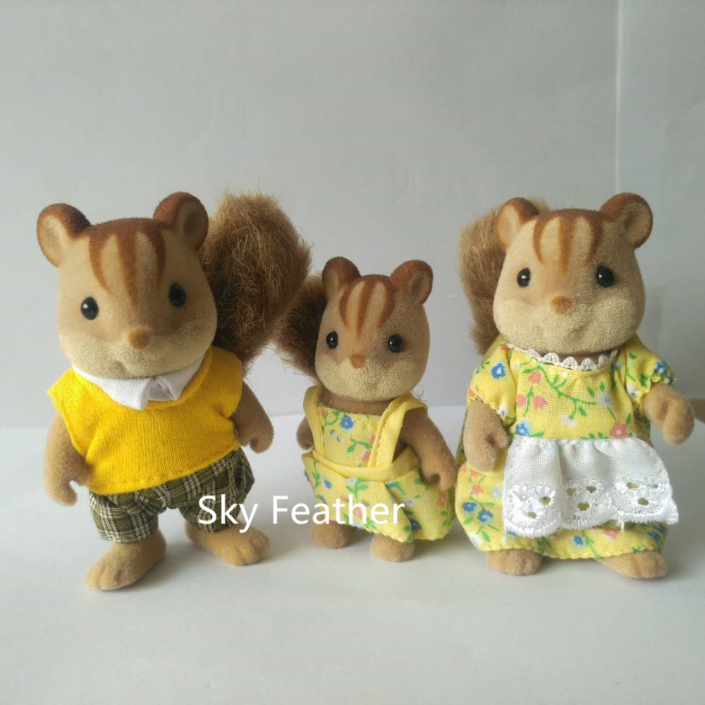 Squirrel familie mini-maat Sylvanian Family Figures Anime Cartoon - Pluche dieren