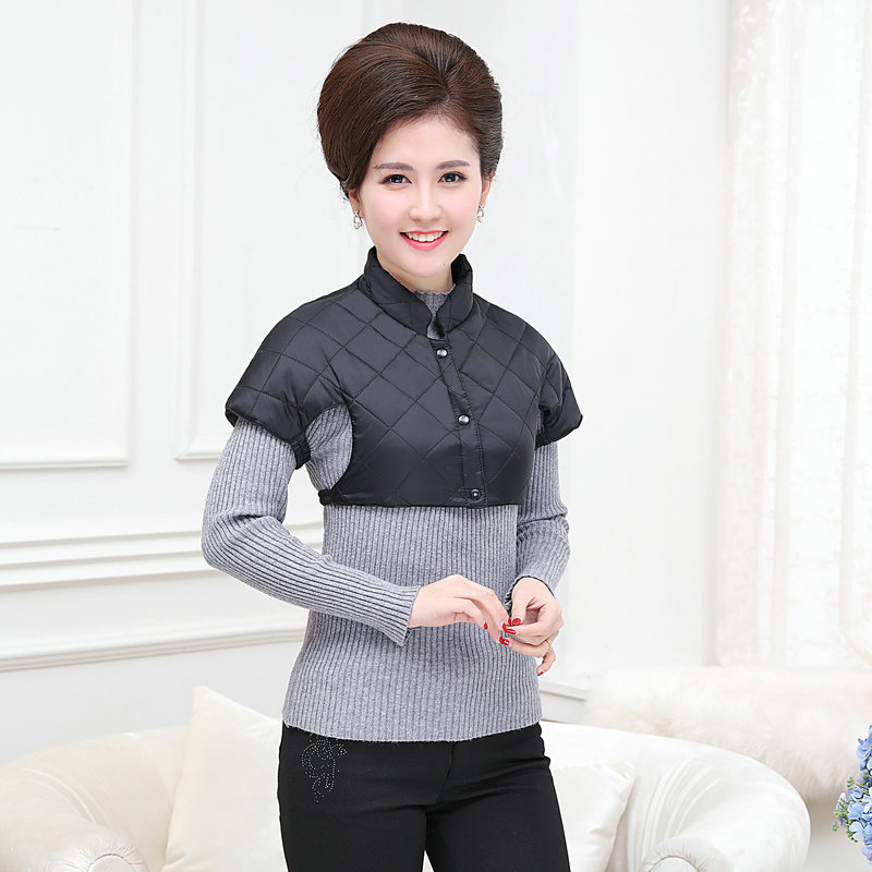 Woman Puffer Shoulder Padded Vest Winter Autumn Women Quilted Shoulder Pad Waistcoats Female Stand Collar Wadded Weskit Womens Belero Vest (13)