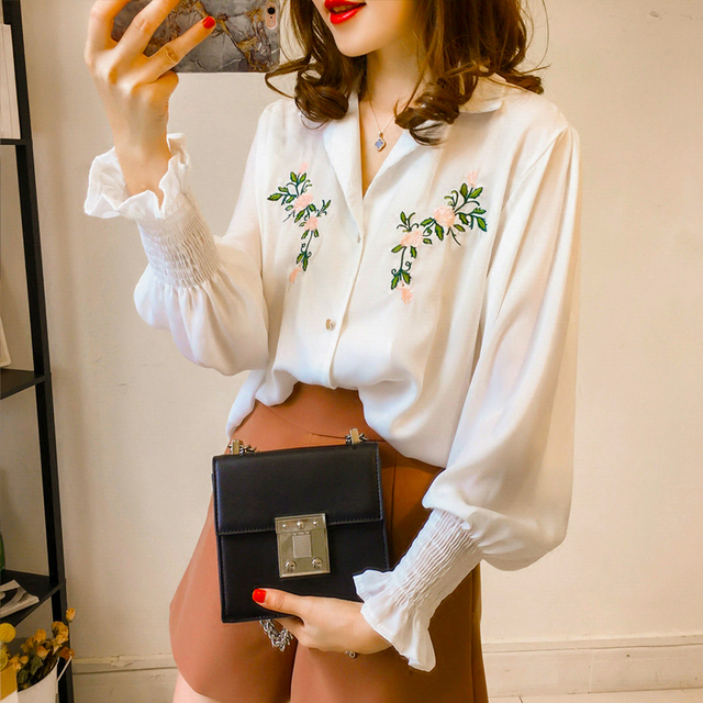 38b8e92cf 2018 new Woman embroidered Shirts student long-sleeved summer Blouses baggy  lantern sleeve white flower shirt plus size XXXXL
