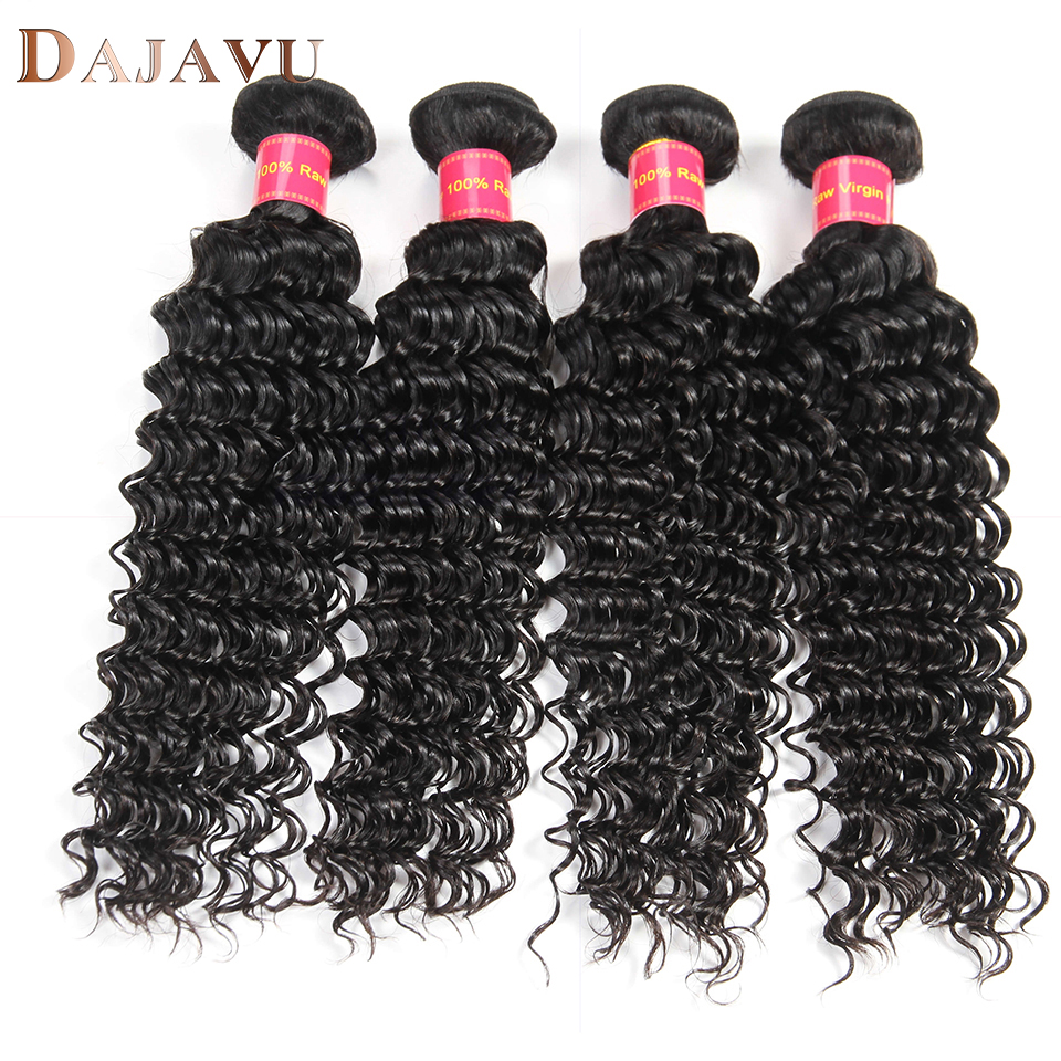 Dejavu Malaysia Deep Wave Human Hair 4 Bundles Malaysia Hair Weave Bundles Natural Color Non Remy Hair Extension