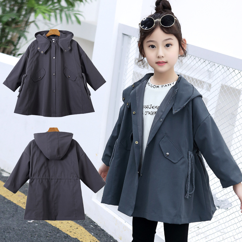 Spring Autumn Girls Jackets Casual Hooded Outerwear Girls Fashion Windbreaker Children Clothing Girls Coat 4 6 8 10 12 13 Years kids jackets for girls spring autumn style toddlers children clothing solid casual 2 3 4 5 6 7 8 year girls coat gray navy