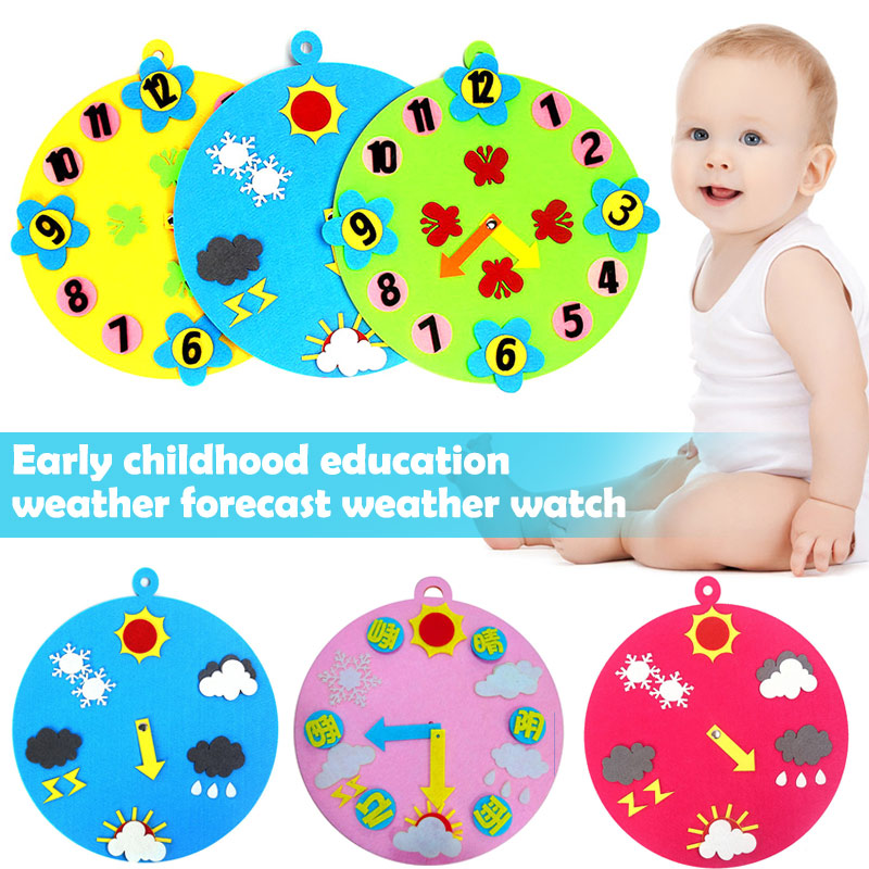 Baby Early Educational Clock Time Weather Learning Clock Cognitive Toys For Kids M09