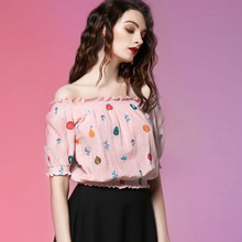 JUNGLE ME 2017 Spring New Elegant Pink Slash Neck Strapless Sexy Loose Puff Sleeve Ruffles Vintage Short Blouses Women Clothing