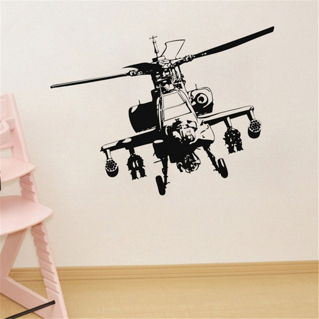 Sofa Background Wall Sticker Vinyl Military Helicopter Adhesive Wall