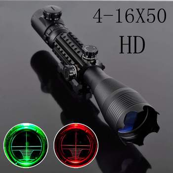 Good Quality Riflescope 4-16x50 Red Green Illuminated Reticle with 22MM Rail Mounts for Hunting Equipment Accessory