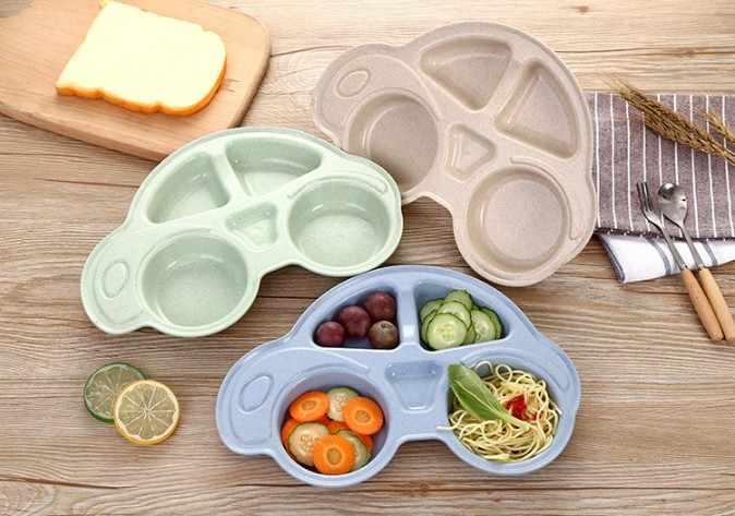 การ์ตูนรถเด็กไม้ไผ่แผ่นเด็กอาหารเย็นฟางข้าวสาลีบนโต๊ะอาหารสำหรับเด็กทารกอาหารเด็กแผ่น