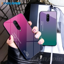 For Oneplus 7 Pro Case Tempered Glass Luxury Gradient Soft Silicone Frame Back Cover For One Plus 6 T Phone Case