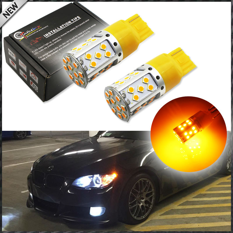 (2) No Resistor Need Amber Yellow 35-emitter 3535 LED 7440 T20 LED Bulbs For Front or Rear Turn Signal Lights (No Hyper Flash) ijdm no resistor no hyper flash 21w high power amber yellow w21w t20 7440 led bulbs for car front or rear turn signal lights