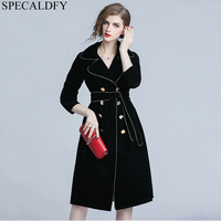 Women Turn Down Collar Double Breasted Black Long Trench Coat Autumn Winter long Velvet Coat Womens Designer Runway Outwear