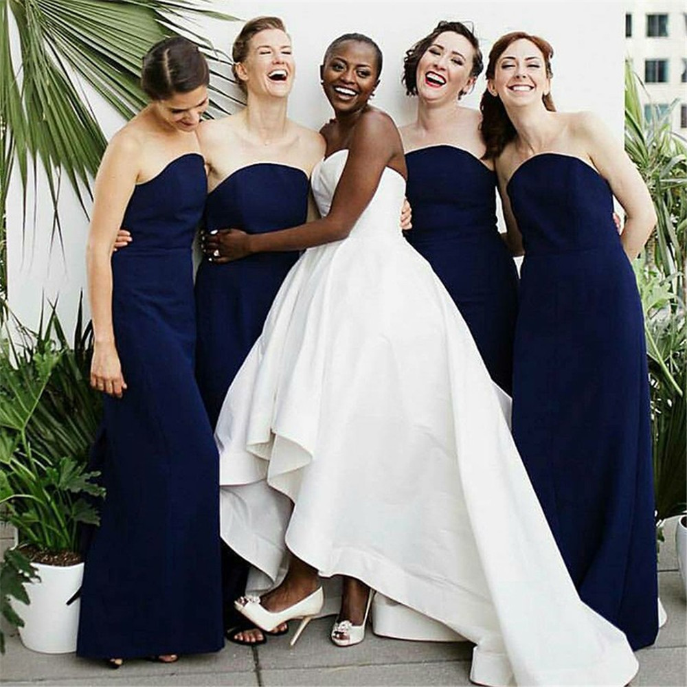 Navy Blue Strapless   Bridesmaid     Dresses   2019 New Floor Length Simple Long Wedding Guest   Dress   Cheap Women Party Gowns Custom Made