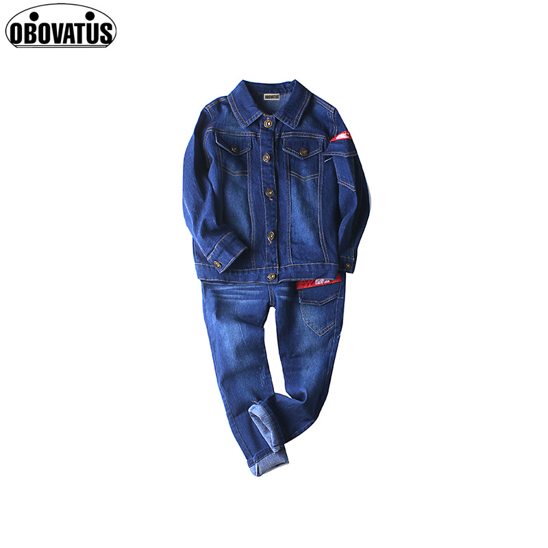 OBOVATUS Denim Outfits for Girls Clothes Sets Kids Jeans Jackets & Pants Suits Children Fall Girls Coat Clothing Sets ccgk workwear suits men women work clothing sets denim jackets and pants factory labor clothes workers uniforms plus size s 4xl