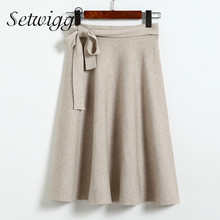 SETWIGG Autumn Elegant Bowknot Cashmere Blend Flared Midi Skirts Sashes Knee Length