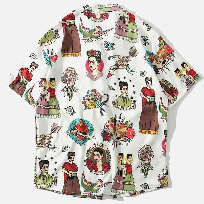 原宿おかしい女の子プリントメンズアロハシャツ半袖ルーズターンダウン襟ユニセックスシャツ 2019 夏ビーチウェアカップルトップ