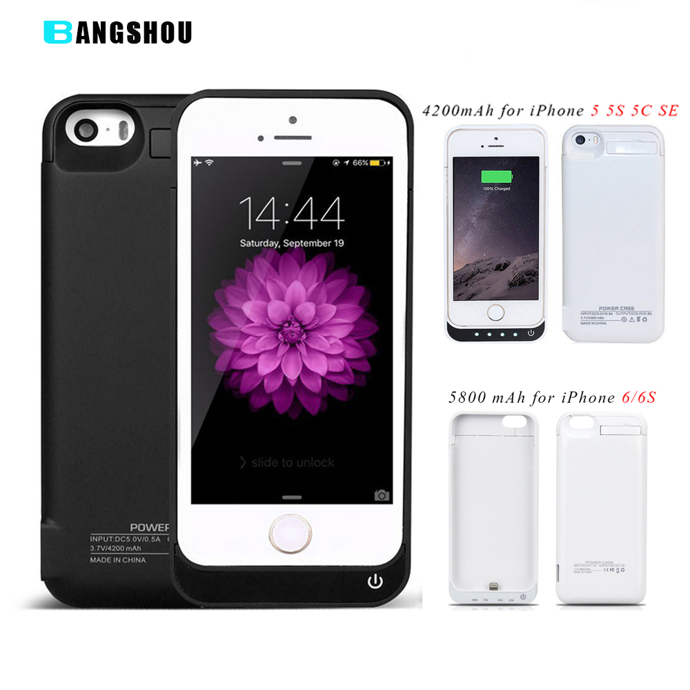 imágenes para Para el iphone 4 5C 4S 5 5S SÍ Cargador de Batería caso 5800 mAh para el iphone 6 6 S Tapa de La Batería Banco de la Energía caso