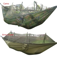 Portable Tactical 300kg Maximum Load Travel Camping Outdoor Waterproof Fabric Hammock Hanging Nylon Bed Mosquito