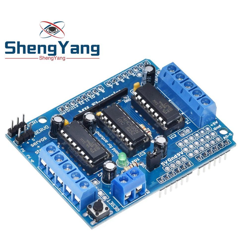 ShengYang 1 шт. L293D двойной щит привода двигателя для arduino Duemilanove, плата расширения привода двигателя, щит управления мотором