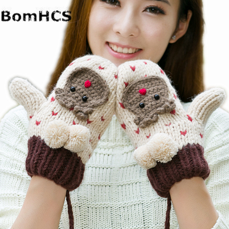 lovely animal bear winter warm thick mittens handmade. Black Bedroom Furniture Sets. Home Design Ideas