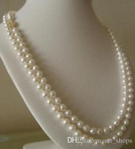 7-8MM white freshwater cultured pearl necklace>>> free   shipping