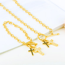 Gold Color African Ethiopian Jewelry Eritrea Habesha Sudan set Bridal Wedding Earring Cross Necklace Earring Arab for Women Gift(China)