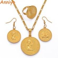 Ожерелье anniyo png k10 серьги кольца для женщин украшения золотого