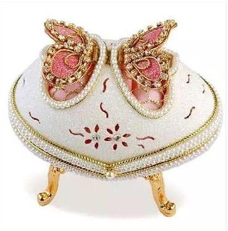 Nouveau perle diamant rose papillon boîte à musique coquille d'oeuf boîte à bijoux filles femmes manivelle boîte à musique mécanisme joyeux anniversaire cadeau