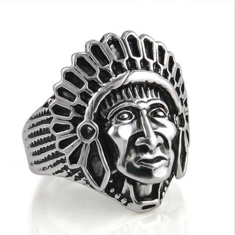 Anillos de indio de alta calidad para hombres aleación color plateado antiguo Bohemian Punk Vintage calavera anillos hombres Anis joyería