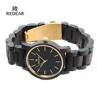 REDEAR Top Brand Luxury Nature Ebony Wood Watch Women Watches Fashion Wooden Women's Watches Ladies Watch Clock reloj mujer
