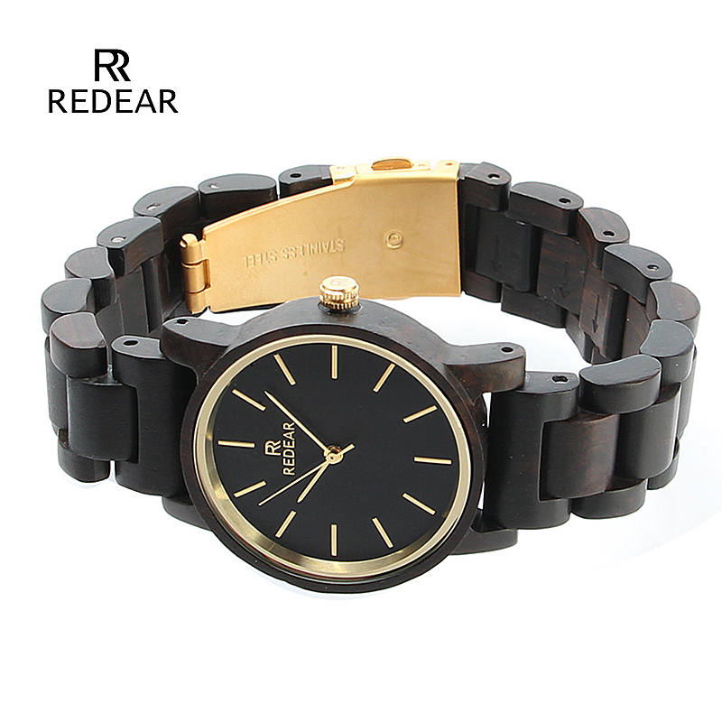REDEAR Top Brand Nature Ebony Wood Watch Women Watches Fashion Women's Watches Ladies Watch Clock relogio feminino reloj mujer redear top brand wood watch men women wooden watches japan miyota fashion watch leather clock relogio feminino relogio masculino