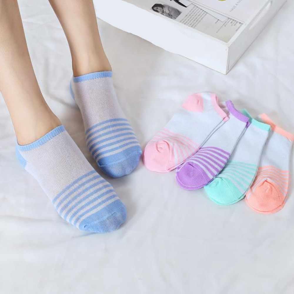 Женские однотонные хлопковые носки по щиколотку, мягкие удобные эластичные носки, сшитые яркие цветные полосатые цветные Повседневные носки