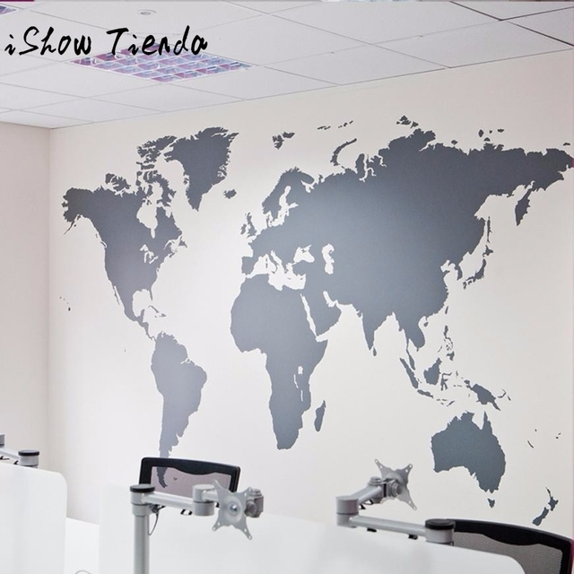 World map removable vinyl wall sticker wallpaper home office art world map removable vinyl wall sticker wallpaper home office art decal mapa mundi autocollants muraux gumiabroncs Image collections