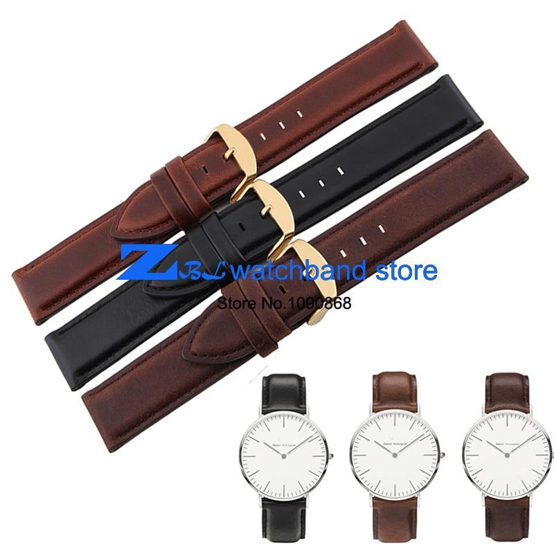 Retro Genuine Leather Watchband Width 17mm 18mm 20mm watch band Black womans mens Wrist watch strap