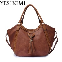 YESIKIMI New Women Shoulder Bag Tassel Purse PU Leather Hobos Large Handbags Vintage Female Bolsas Christmas