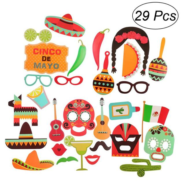 29 pcs photo booth props fiesta party supplies mexican carnival
