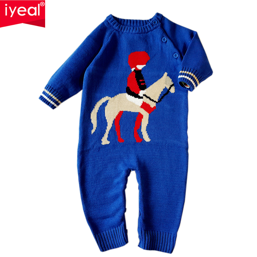 IYEAL Spring Cartoon Pattern O-neck Baby Knit Sweater Rompers Newborn Clothing Cotton Long Sleeve Jumpsuits Boy Girls Outerwear baby rompers o neck 100