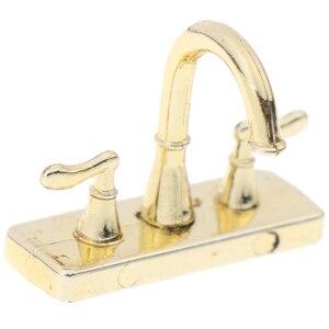 Image 5 - 2pcs Dollhouse Faucet Simulation Model Furniture Toys 1:12 Metal Water Tap Faucet Dollhouse Miniature Bathroom Accessories